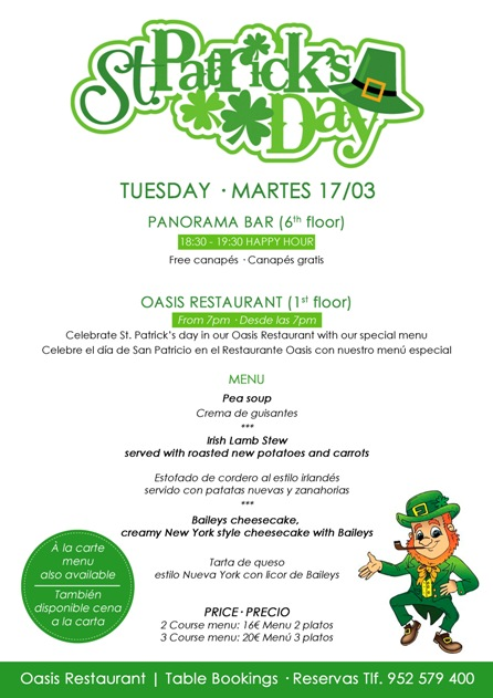 St Patricks Day Dinner Menu at Sunset Beach Club