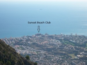 Sunset Beach Club from the top of the mountain