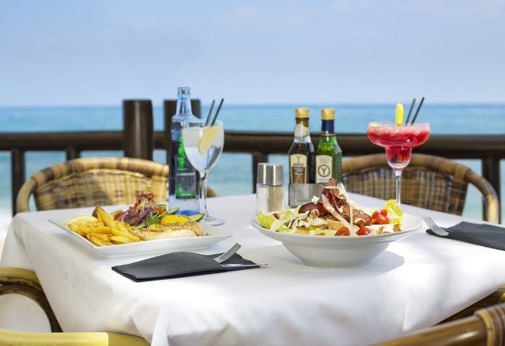 Lunch and cocktails at Luna Beach Club, Benalmadena