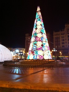 Colourful christmas tree in Malaga city centre...