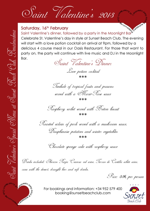 Valentines day menu at Sunset Beach Club