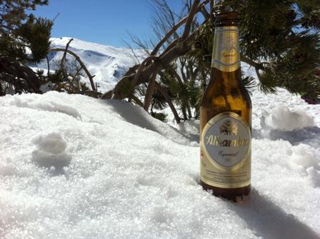 Cerveza en la nieve de Sierra Nevada
