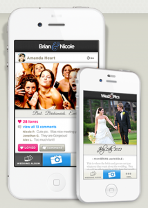 Screenshots of the Wedpics app