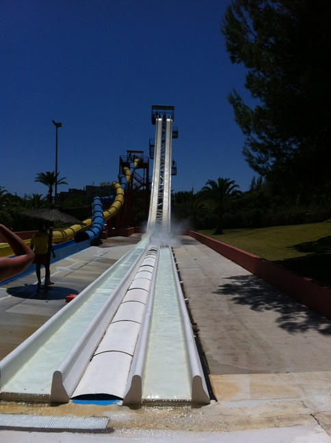 Photo of the dreaded Kamikaze slide at Aqualand in Torremolinos