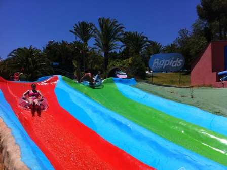 Rafting down the rapids at Aqualand in Torremolinos