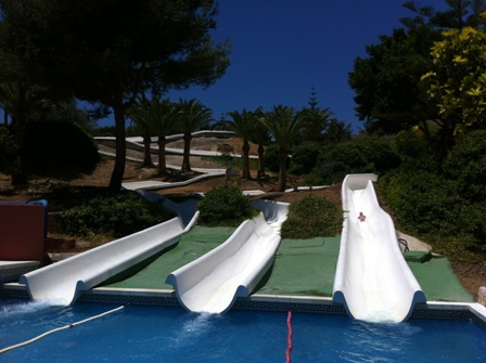 Fun on the Super Slalom at Aqualand in Torremolinos