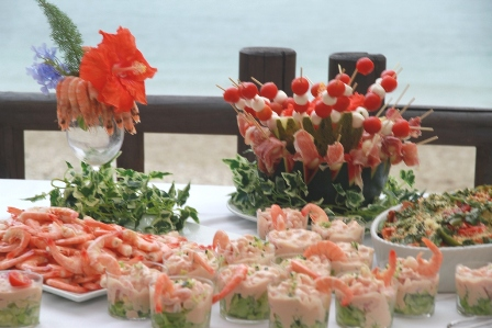Wedding buffet at Luna Beach Club