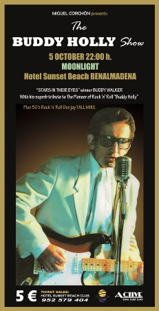 Poster for the Buddy Holly Show at Sunset Beach Club