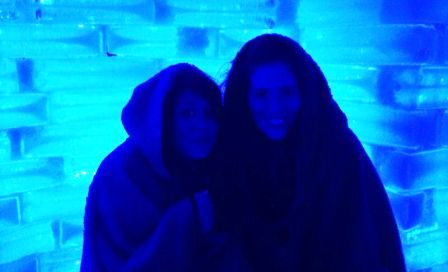 Keeping warm at Boals Ice Bar in Benalmadena