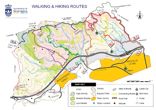 Map of Benalmadena Walking & Hiking Routes