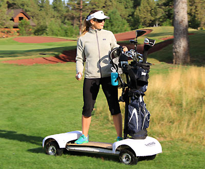 GolfBoard with stability bar and bag holder