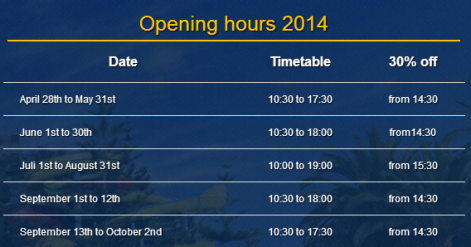 Opening hours Mijas Water Park