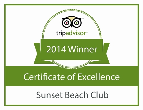 Certificate of Excellence 2014 Sunset Beach Club