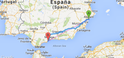 Route Map - Benalmadena to Alicante
