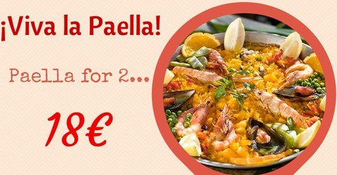 Paella lunch offer - 18 euros for 2 people