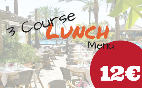 3 Course lunch for 12 euros - Oasis Restaurant Sunset Beach  Club