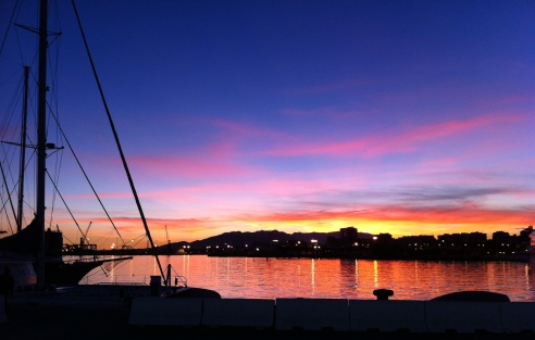 Amazing Sunset at Muelle Uno in Malaga