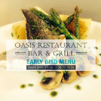 Early Bird Menu in the Oasis Restaurant, Sunset Beach Club