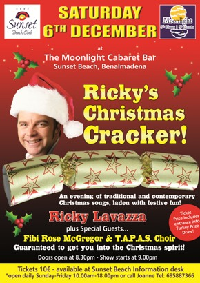 Poster for Ricky's Christmas Cracker show at Sunset Beach Club