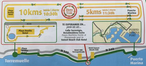 Map of Cudeca Walkathon Routes