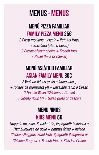 Take away menu for families