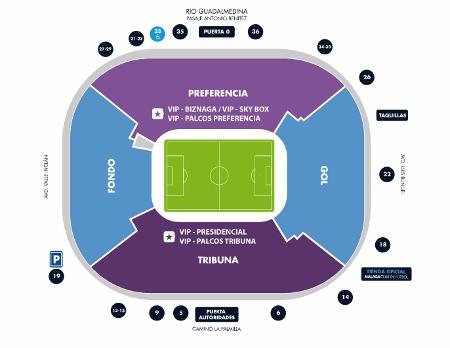 Plan of La Rosaleda Stadium
