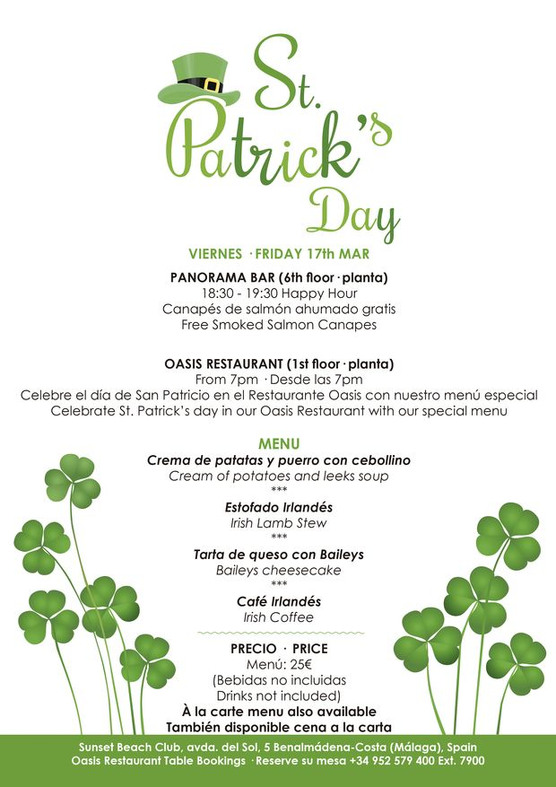 Menu for St Patrick's Day at Sunset Beach Club