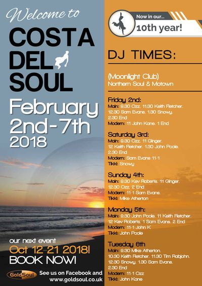 Poster for Costa del Soul February 2018