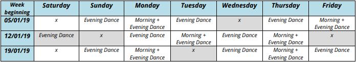 Winter sun dance holiday schedule