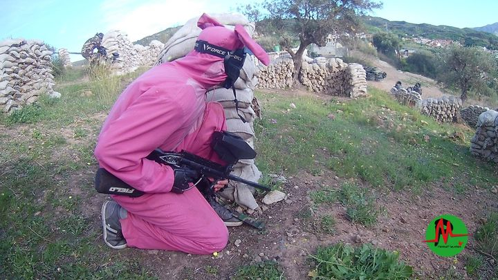 Photo of man dressed as Pink Bunny Rabbit at Paintball Malaga