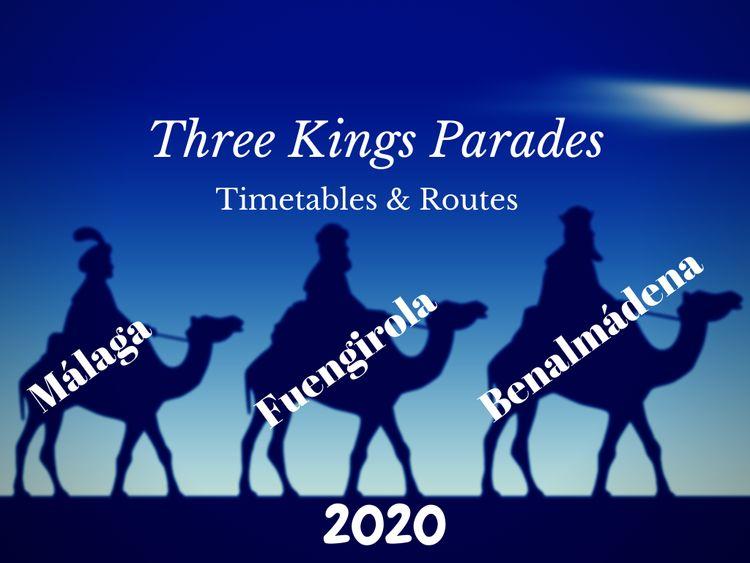 Timetable for 3 kings parade in Benalmadena, Malaga and Fuengirola