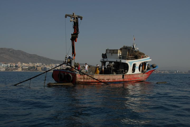 The boat used to farm mussels in Benalmadena